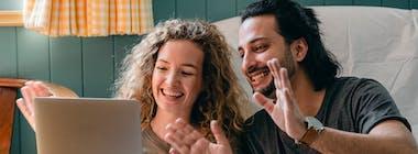 happy couple laptop