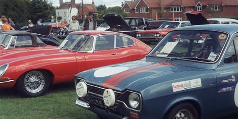Classic cars parked up