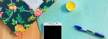 Samsung Galaxy phone on desk