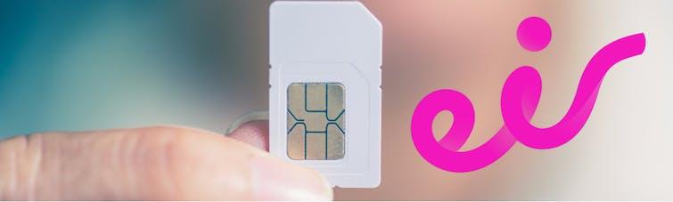Hand holding eir SIM card