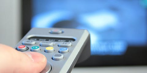 TV remote pointing at TV to decide channel