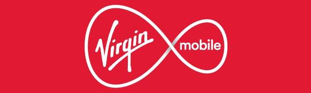 Virgin Mobile logo on a red banner