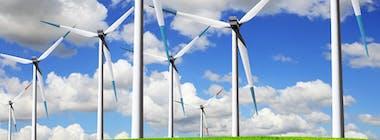 Wind farm on a bright day