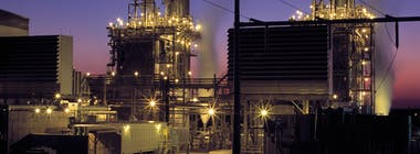 Gas power plant at night