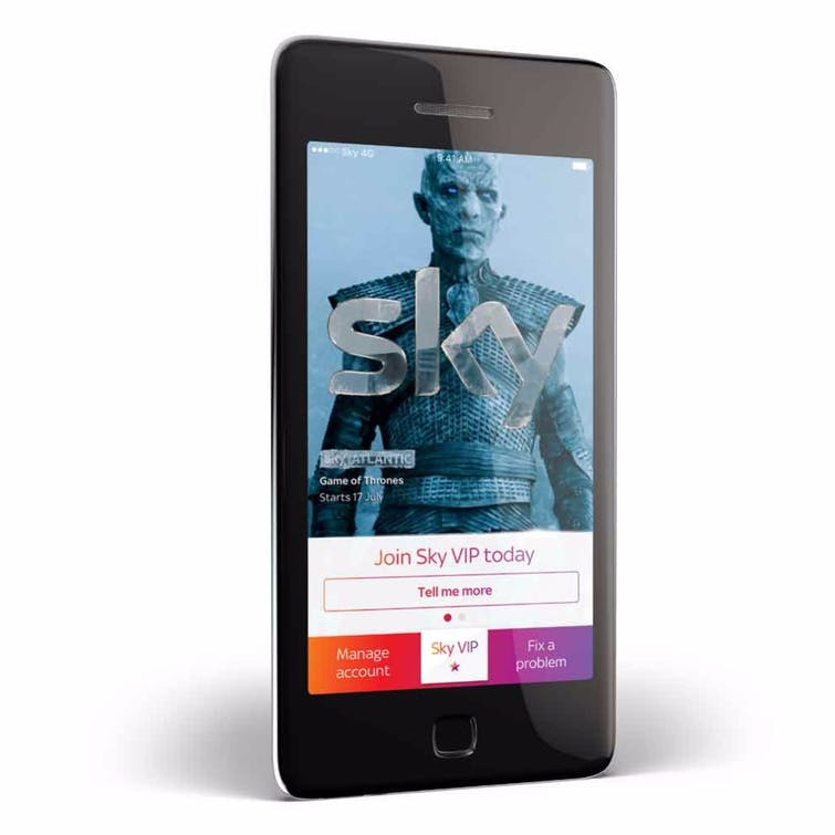 Sky VIP app homepage