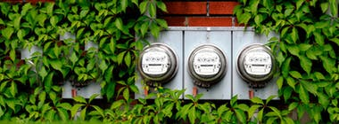 Gas and electricity meter in a garden