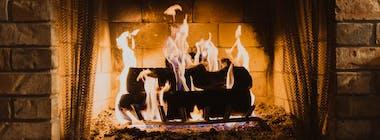 Open fire heating a home