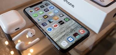 iPhone box and headphones
